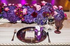 Pièce d'événements de décoration, réception de mariage Photo libre de droits
