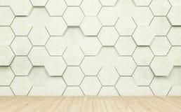 Pièce d'Abstact avec le plancher en bois léger et le mur futuriste 3d rendent Photos stock