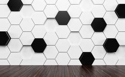 Pièce d'Abstact avec le plancher en bois sombre et le mur blanc et noir futuriste 3d rendent Images stock
