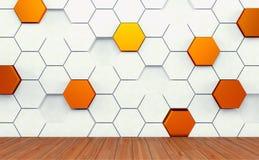 Pièce d'Abstact avec le plancher en bois sombre et le mur futuriste de blanc et d'or 3d rendent Photos stock