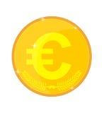 Pièce d'or avec l'euro symbole Photo stock