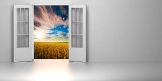 pièce 3d avec la porte ouverte Photos stock
