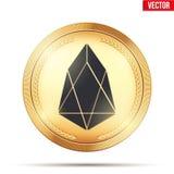 Pièce d'or avec le signe de cryptocurrency d'EOS illustration stock