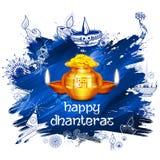 Pièce d'or dans le pot pour la célébration de Dhanteras sur le festival heureux de lumière de Dussehra du fond d'Inde Photo stock
