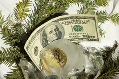 Pièce d'or de Bitcoin congelée dans la moitié dans un morceau de glace sur un fond blanc avec des branches d'arbre de Noël et 100 images libres de droits