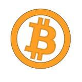 Pièce d'or de Bitcoin de crypto devise d'isolement sur le fond blanc Bloquez l'autocollant pour des bitocones pour des pages Web  Images libres de droits