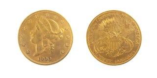 Pièce d'or de l'Amérique 20 dollars Photographie stock libre de droits