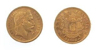 Pièce d'or des Frances d'empereur du napoléon III Photo stock