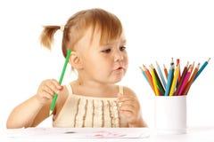 Pièce d'enfant mignonne avec des crayons de couleur Image libre de droits