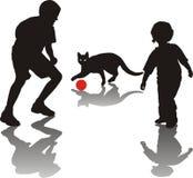 Pièce d'enfants avec un chat Illustration Stock