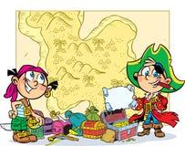 Pièce d'enfants dans les pirates illustration stock