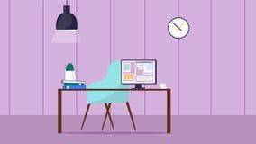 Pièce d'espace de travail avec le bureau et l'ordinateur Photo libre de droits