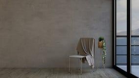 pièce 3D et chaise vides contemporaines Photographie stock
