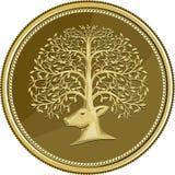 Pièce d'or principale d'Antler d'arbre de cerfs communs rétro Illustration de Vecteur