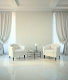Pièce dans le style classique avec deux fauteuils et tables de coffe illustration stock