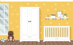 Pièce de bébé avec des meubles Images libres de droits