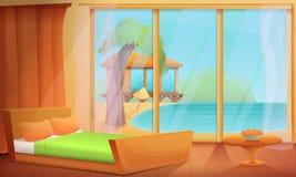 Pièce de bande dessinée avec la vue d'océan dans les tropiques illustration de vecteur