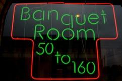 Pièce de banquet rouge et verte d'enseigne au néon Photographie stock libre de droits