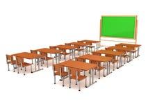 Pièce de classe avec un panneau d'école et des bureaux d'école Images stock