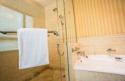 Pièce de douche avec la baignoire image stock