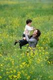 Pièce de mère et de fils en fleurs Photographie stock libre de droits