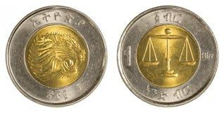 1 pièce de monnaie éthiopienne de birr Photographie stock libre de droits