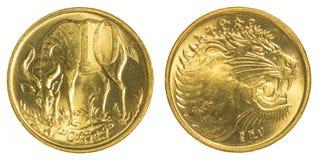 pièce de monnaie éthiopienne du santim 10 Images libres de droits