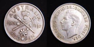 Pièce de monnaie 1951 argentée de florin de l'Australie Jubelee Images libres de droits