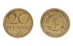 Pièce de monnaie Allemand de l'Est, la valeur nominale du penny 20 Photos stock