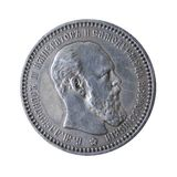 Pièce de monnaie antique d'isolement sur le blanc Photos libres de droits