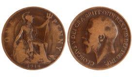 Pièce de monnaie antique de la Grande-Bretagne 1918 ans Photos stock
