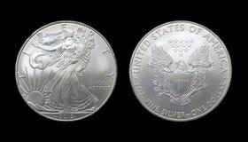 Pièce de monnaie argentée américaine du dollar d'aigle Image libre de droits