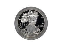 Pièce de monnaie argentée d'aigle images stock