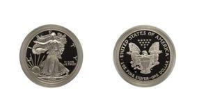 Pièce de monnaie argentée d'aigle images libres de droits