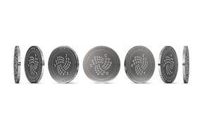 Pièce de monnaie argentée d'iota montrée de sept angles d'isolement sur le fond blanc Facile de couper et employer l'angle partic Image stock