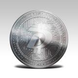 Pièce de monnaie argentée de digibyte d'isolement sur le rendu blanc du fond 3d Photos stock