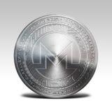 Pièce de monnaie argentée de monero d'isolement sur le rendu blanc du fond 3d Image stock