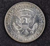 Pièce de monnaie argentée de demi-dollar de John Fitzgerald Kennedy Photos stock