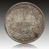 Pièce de monnaie argentée 1874 de marque d'empire allemand photographie stock libre de droits