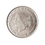 Pièce de monnaie argentine avec le visage d'Evita. Photographie stock libre de droits