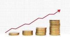 Pièce de monnaie avec le graphique Images stock
