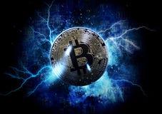 Pièce de monnaie de bitcoin d'or Photo stock