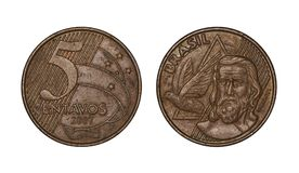 Pièce de monnaie brésilienne de cinq cents vraie, avant et visages arrières images libres de droits