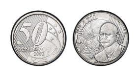 Pièce de monnaie brésilienne de cinquante cents vraie, avant et visages arrières photographie stock