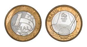 Pièce de monnaie brésilienne ` commémoratif du ` un de vrai - jeux Rio 2016 de Jeux Olympiques images libres de droits