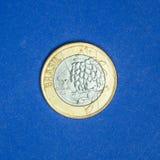 Pièce de monnaie brésilienne ` commémoratif du ` un de vrai - Tom la mascotte - ` 2016 de Rio de ` de jeux de Jeux Olympiques Photographie stock
