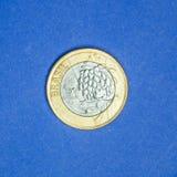 Pièce de monnaie brésilienne ` commémoratif du ` un de vrai - Tom la mascotte - ` 2016 de Rio de ` de jeux de Jeux Olympiques Photos stock