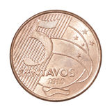 Pièce de monnaie brésilienne de centavos Images libres de droits