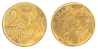 Pièce de monnaie brésilienne de 25 vraie centavos Photos stock