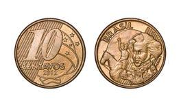 Pièce de monnaie brésilienne de Dix cents vraie, avant et visages arrières image stock